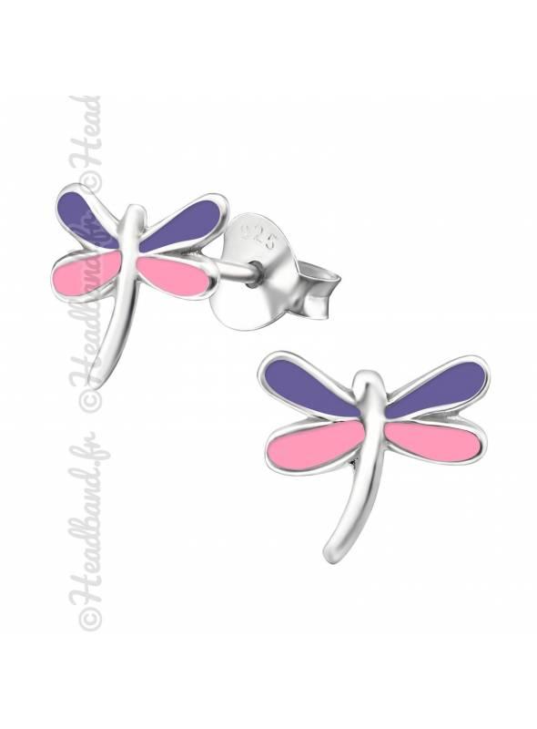 Boucles d'oreille libellule mauve et rose argent