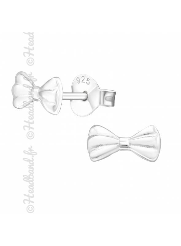 Boucles d'oreilles fille noeud argent 925