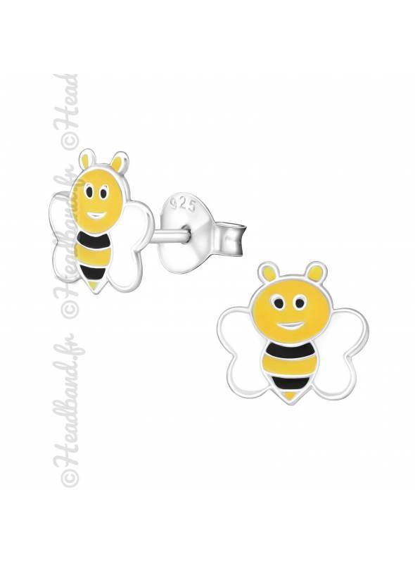 Clous d'oreilles enfant abeille argent