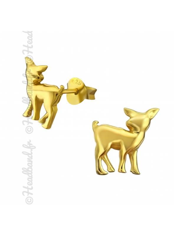 Clous d'oreilles renne plaqué or