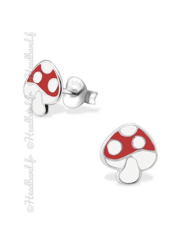 Boucles d'oreilles enfant champignon argent