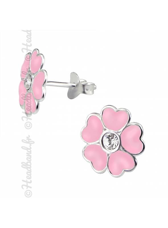 Boucles d'oreilles enfant flower rose argent