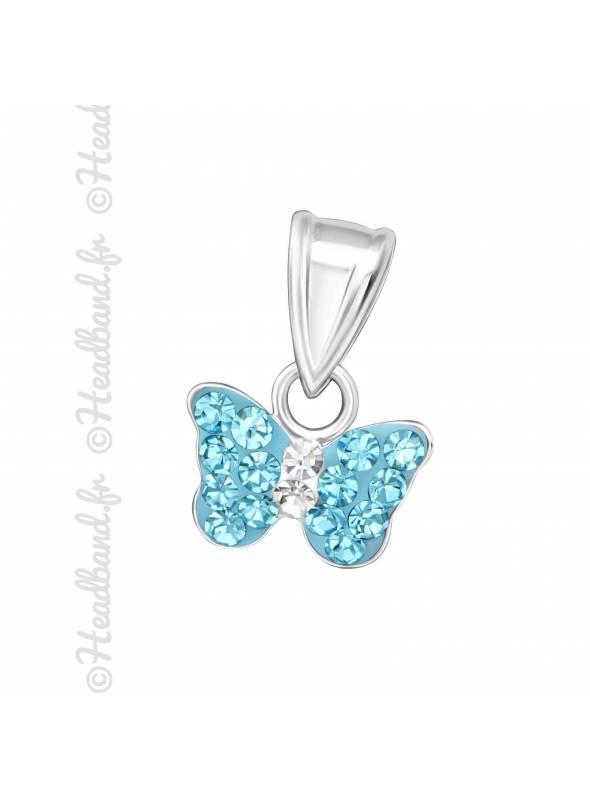 Pendentif enfant papillon strass bleu argent