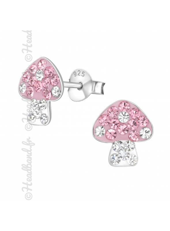 Boucles d'oreilles champignon strass rose argent
