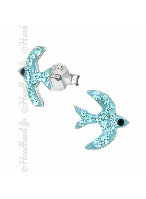 Boucles d'oreilles oiseau strass bleu argent