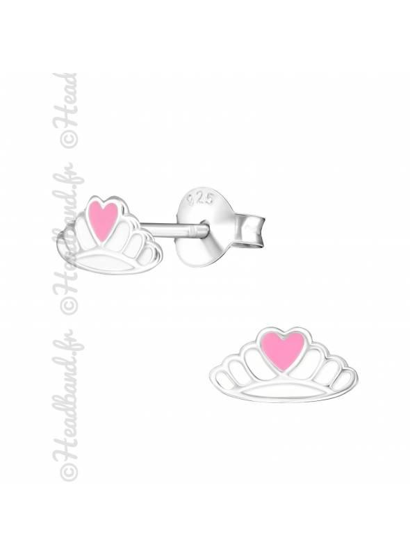 Boucles d'oreilles couronne rose argent
