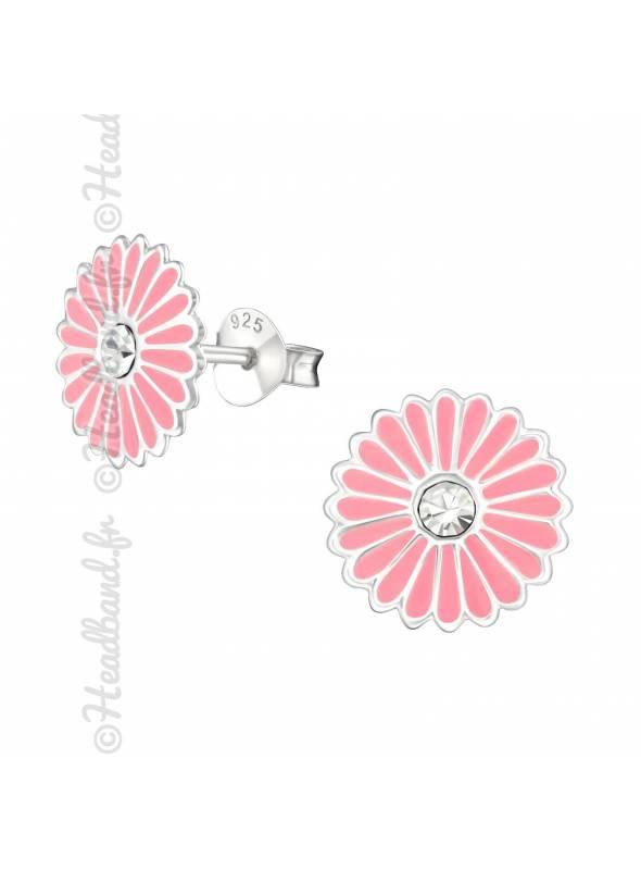 Boucles d'oreilles grande rosace rose argent
