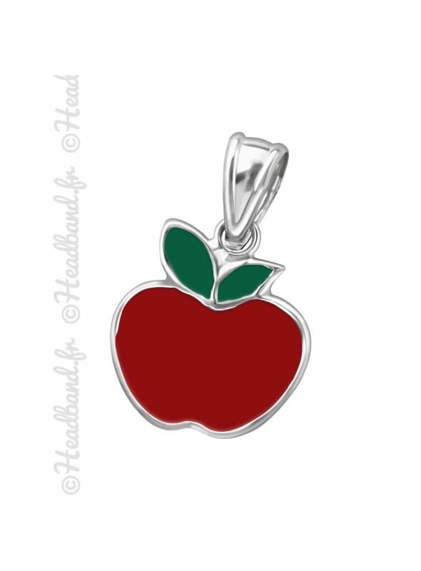 Pendentif enfant pomme émaillé argent