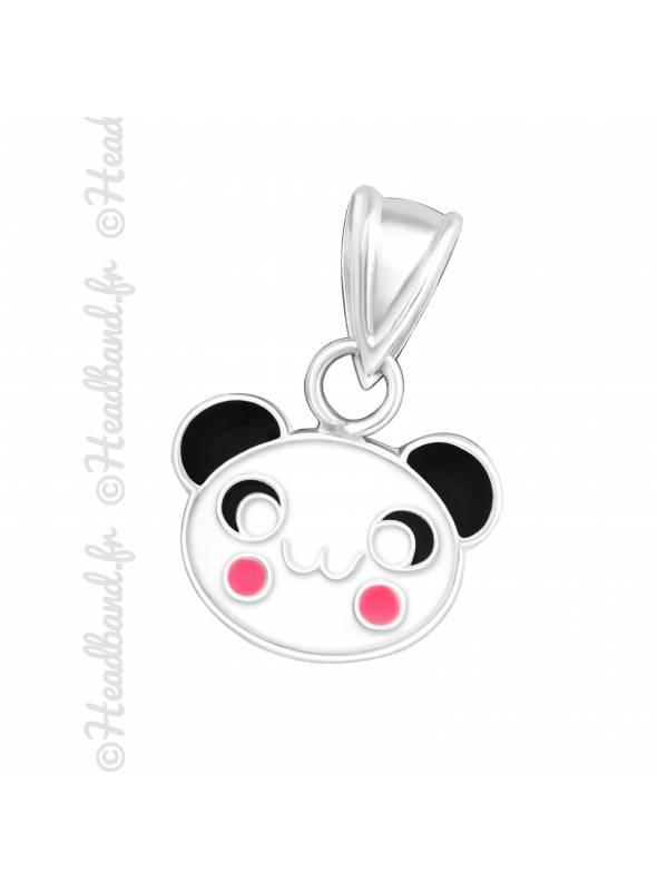 Pendentif enfant panda kawai argent