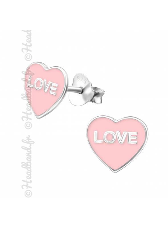 Boucles d'oreilles inscritption love argent