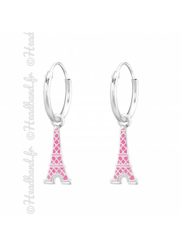 Créoles enfant tour Eiffel rose argent 925