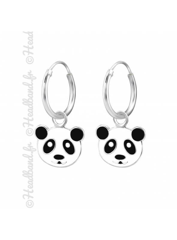 Créoles enfant tête panda argent