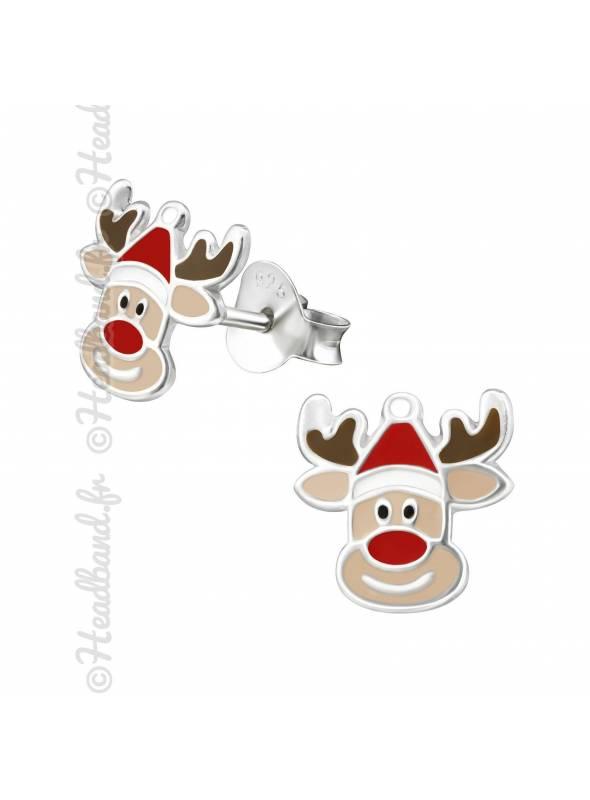 Boucles d'oreilles renne bonnet Noël argent