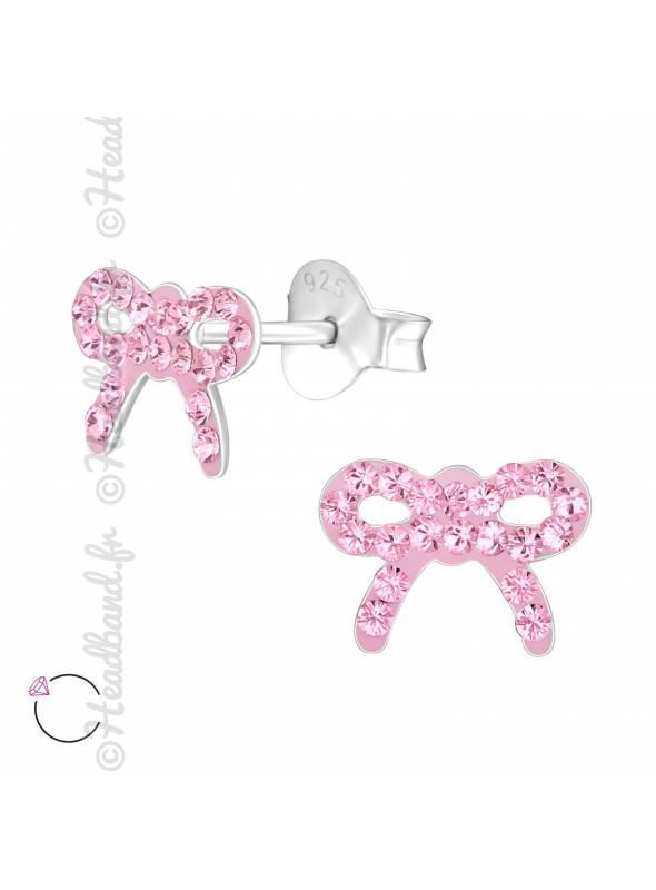 Clous d'oreilles noeud rose avec cristaux Swarovski