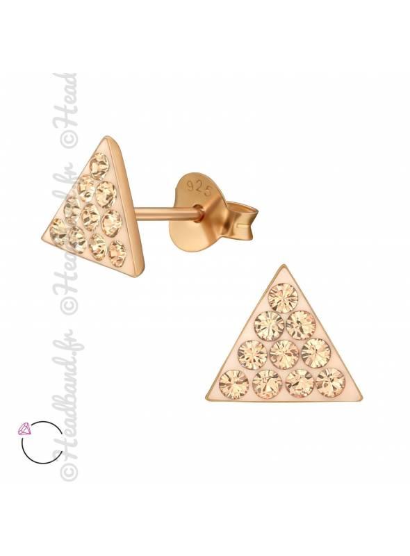 Clous d'oreilles triangle gold avec cristaux Swarovski