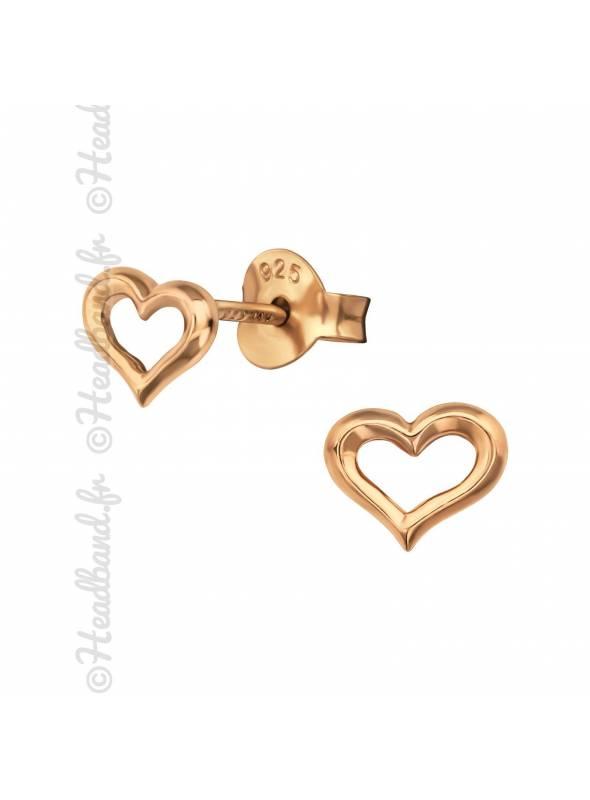 Boucles d'oreilles coeur ajouré plaqué or