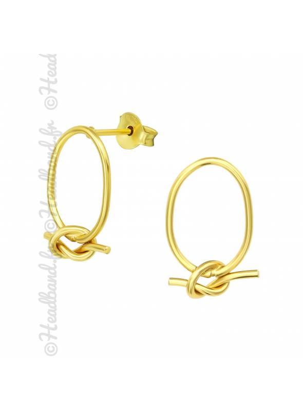 Clous d'oreilles cercle noeud marin plaqué or