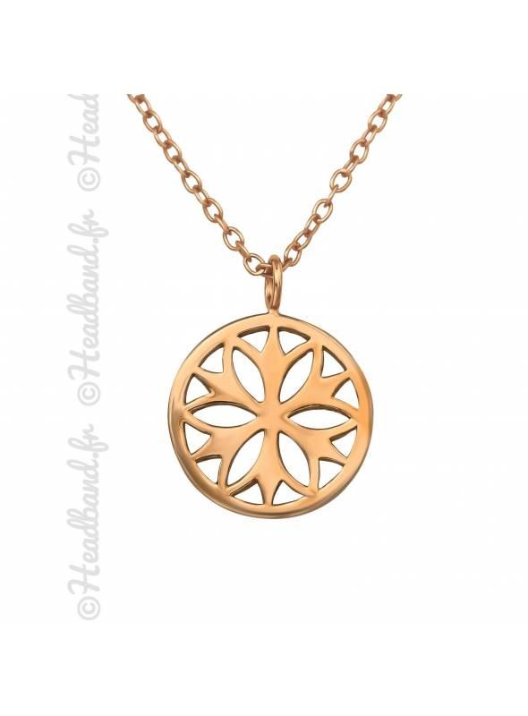 Collier rosace plaqué rose gold