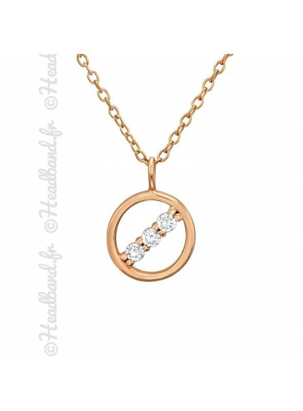 Collier cercle cristaux plaqué rose gold