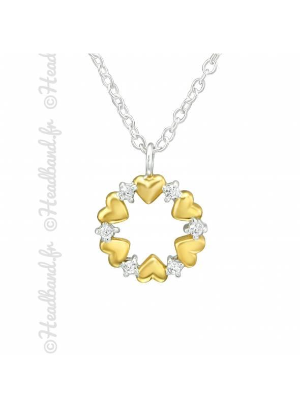 Collier cercle coeur et cristaux plaqué or