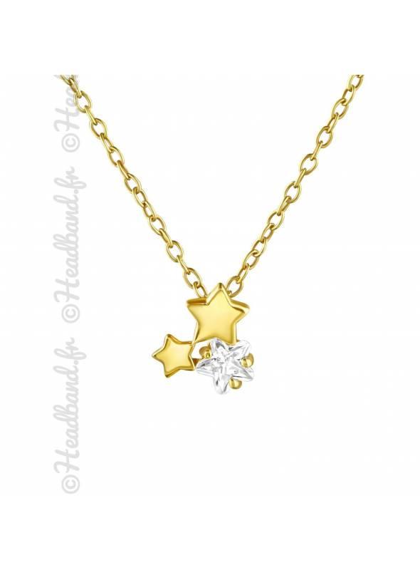 Collier trio étoiles et cristaux plaqué or