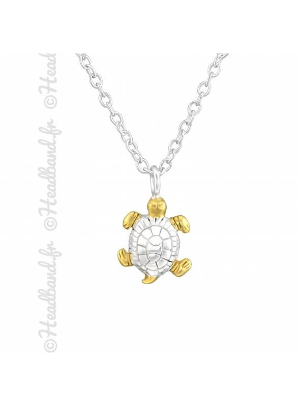 Collier tortue plaqué or et argent