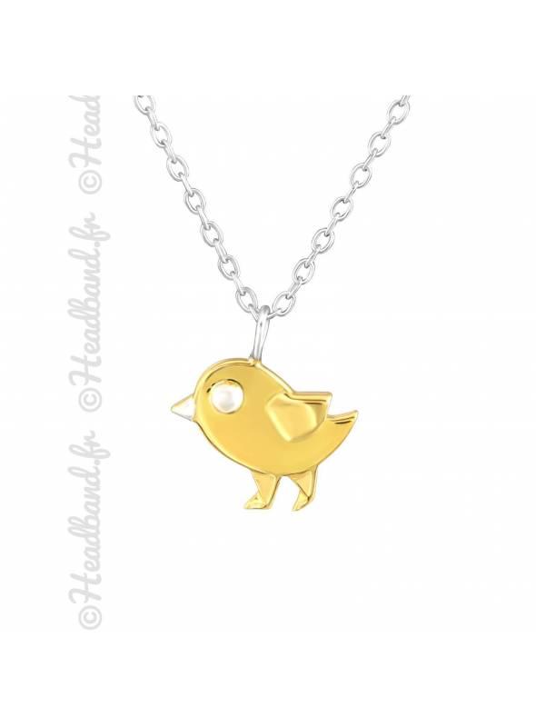 Collier oiseau plaqué or et argent