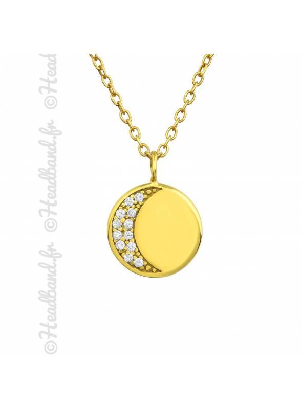 Collier médaille lune cristaux plaqué or