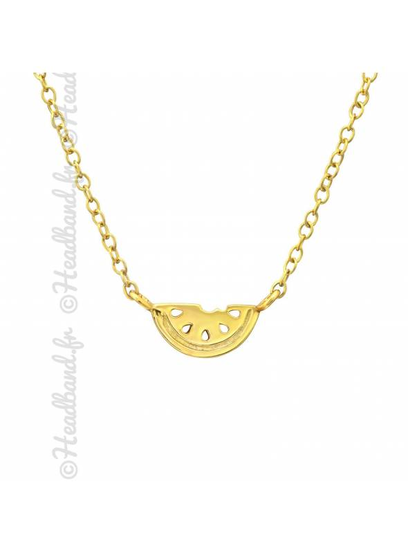 Collier motif pastèque plaqué or