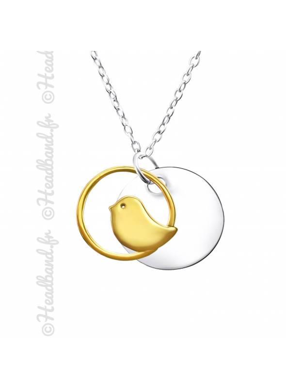 Collier médaillon oiseau plaqué or et argent