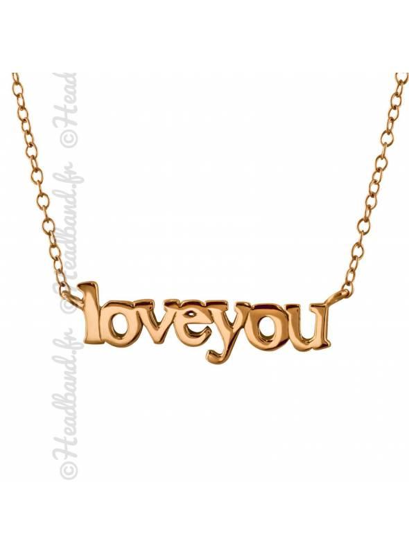 Collier love you inscription plaqué or rose