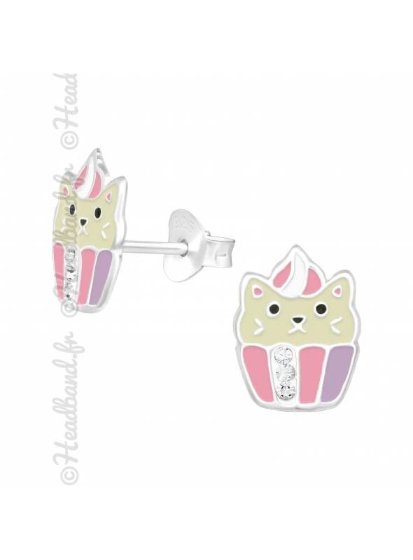 Boucles d'oreilles chat cupcake argent