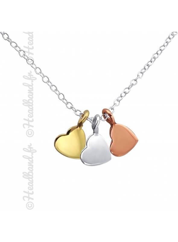 Collier coeur médaille plaqué or rose et argent