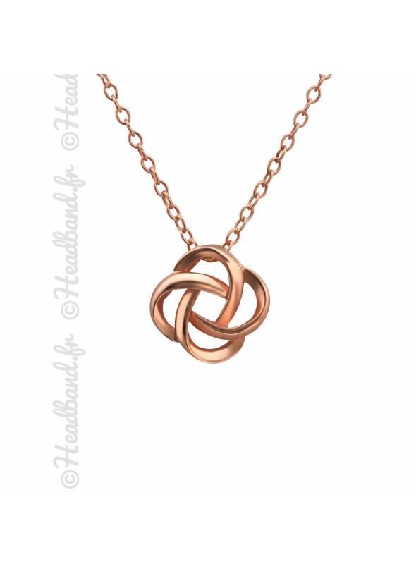 Collier noeud celtique plaqué or rose