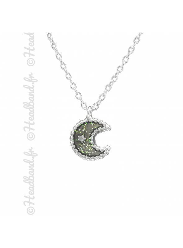 Collier enfant lune grise argent 925