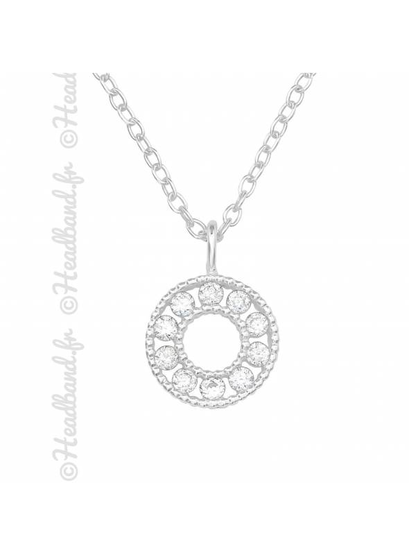 Collier cercle strass zirconium argent 925