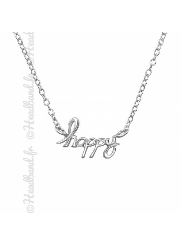 Collier inscription happy argent 925