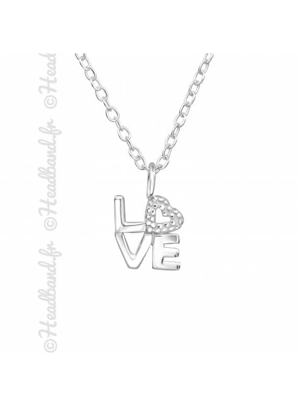 Collier pendentif mot love argent 925