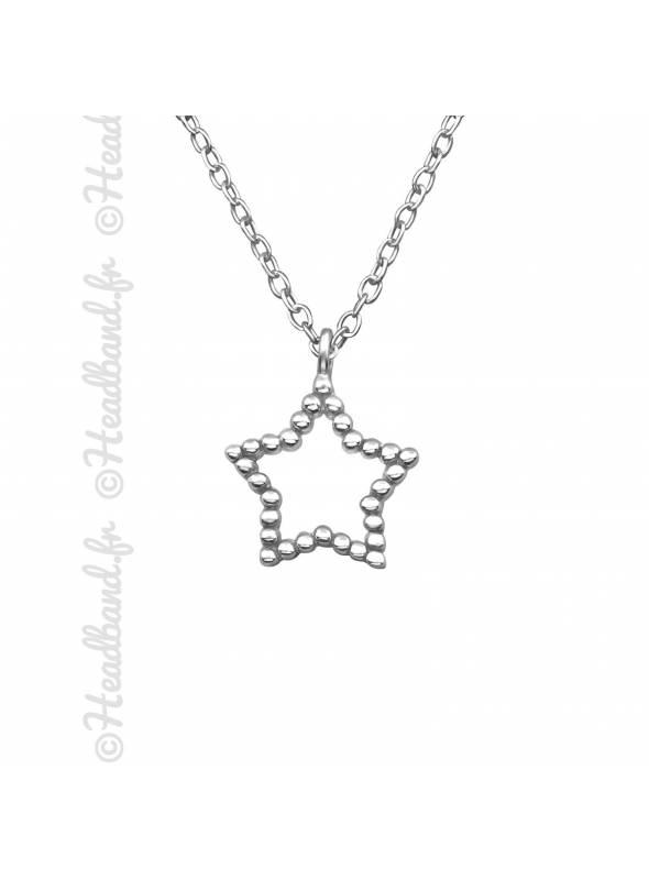 Collier étoile contour strass argent 925