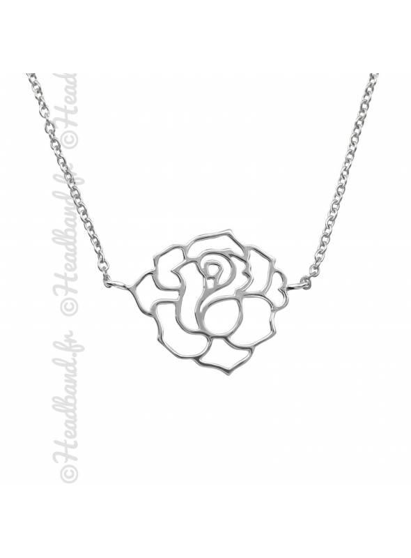 Collier motif rose argent 925