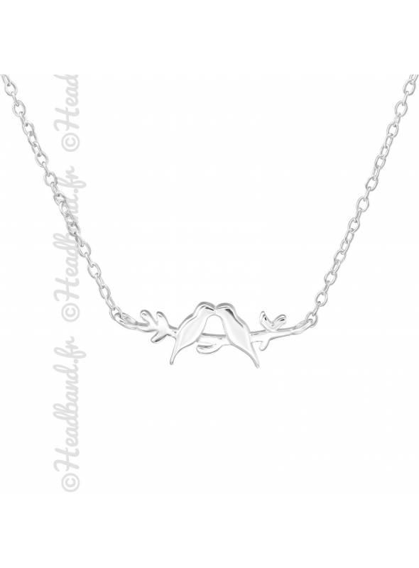 Collier branche oiseaux argent 925