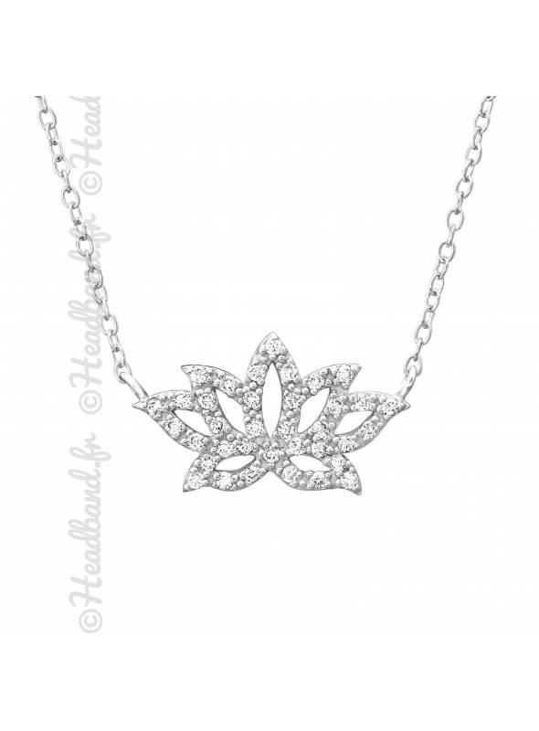 Collier fleur lotus argent 925