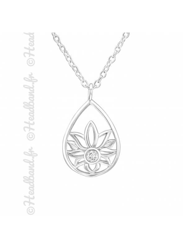 Collier médaillon ovale fleur argent 925