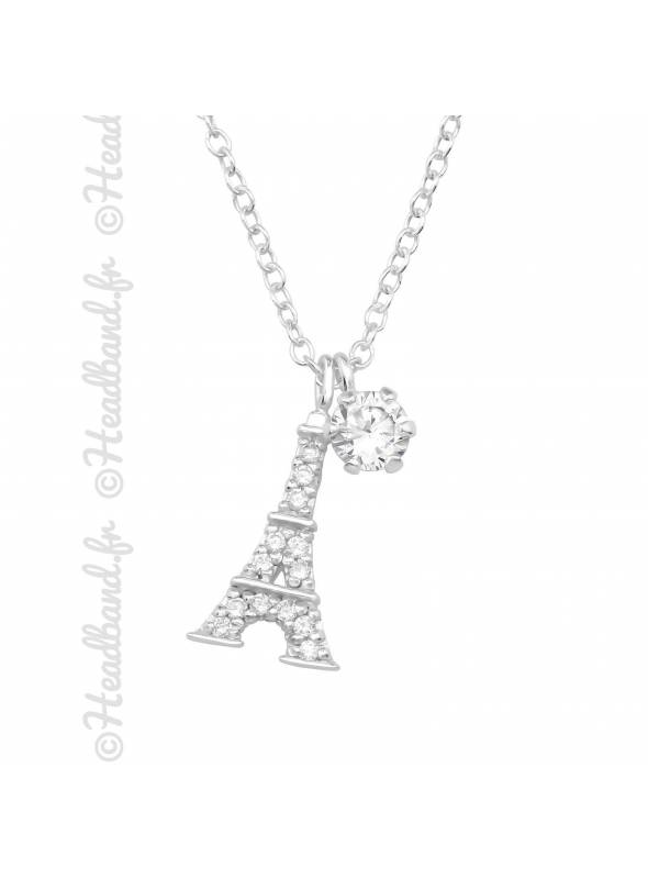 Collier strass Tour Eiffel argent 925