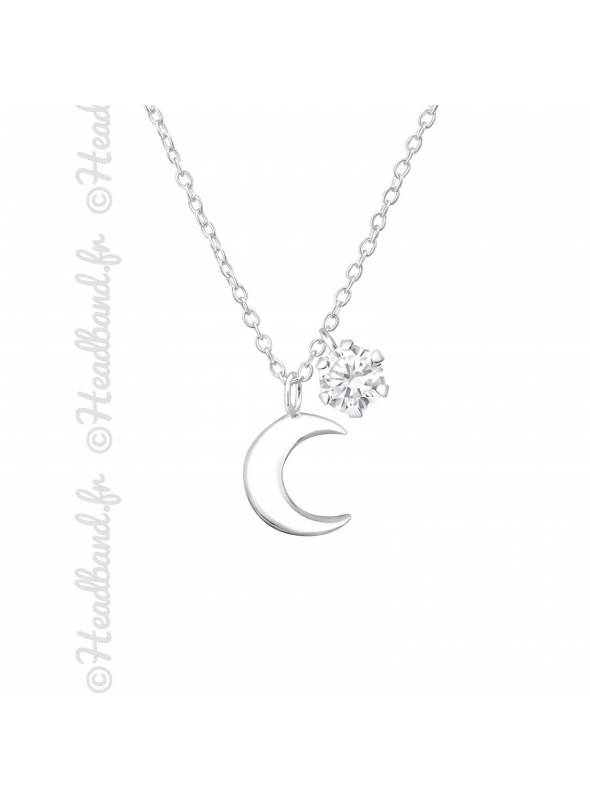 Collier lune cristal zirconium argent 925