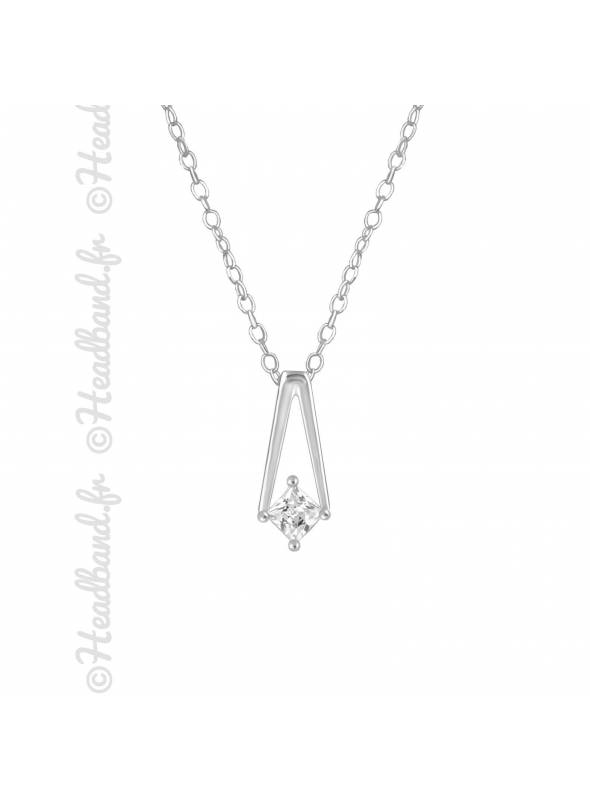 Collier cristal zirconium carré argent 925