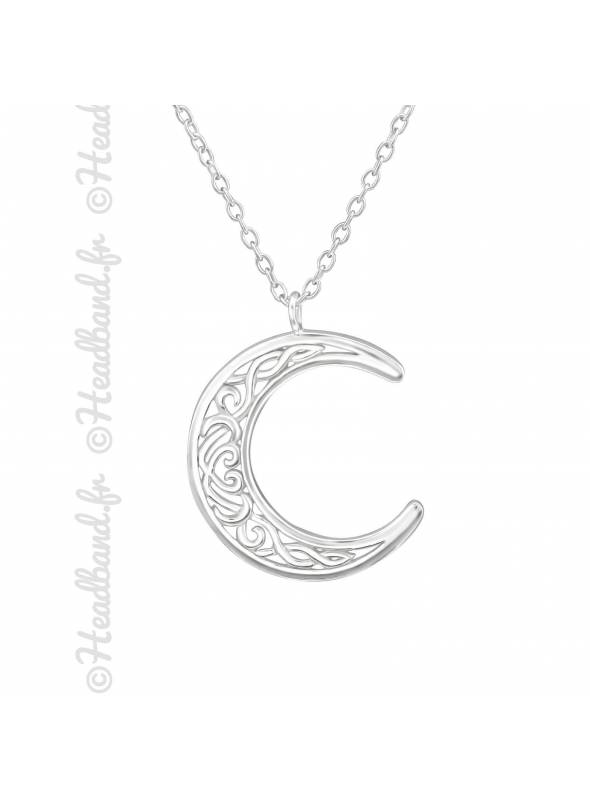 Collier lune antique argent 925