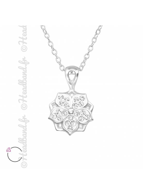 Collier fleur strass argent avec cristaux Swarovski
