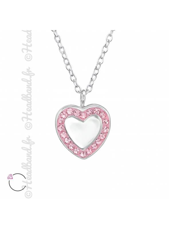Chaîne coeur miroir avec cristaux Swarovski rose