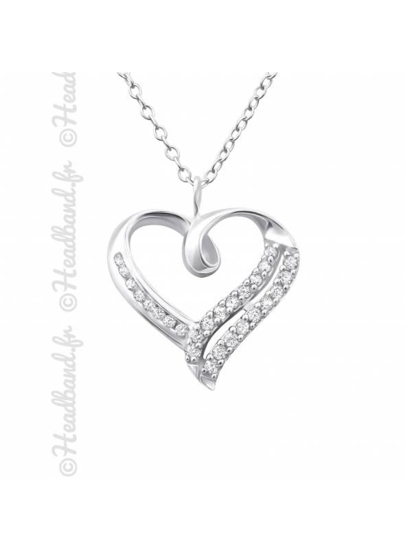 Collier coeur pavé de cristaux blanc argent 925